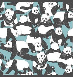 cute panda bear seamless pattern textile vector image