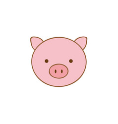 cute pig animal head expression vector image