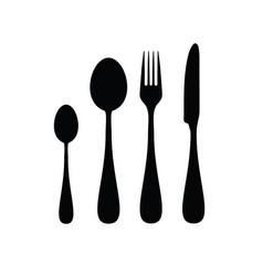 Cutlery silhouette in black color vector