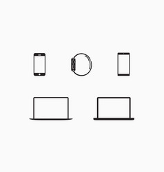 digital devices icons flat design style vector image