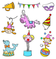 Doodle circus various object vector