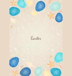 Easter egg with marine life frame on sand beach vector