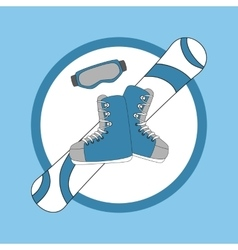 Emblem snowboarding - snowboard and shoes mask vector image
