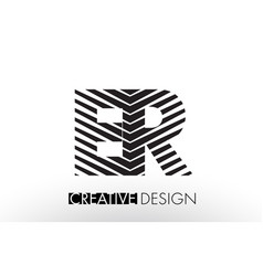er e r lines letter design with creative elegant vector image