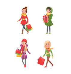 female friends doing shopping isolated cartoon vector image