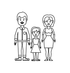 figure couple with their daughter icon vector image