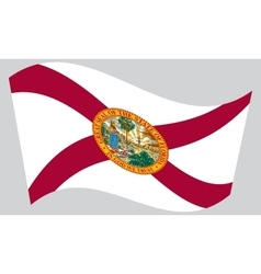 Flag of Florida waving on gray background vector
