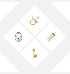 flat kid set of pinafore feeder toy and other vector image