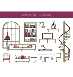 Flat line furniture set vector image