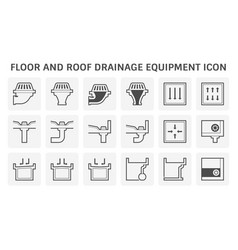 Floor and roof deck drainage equipment icon set vector