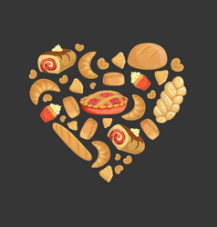 Fresh baked goods heart shape element can be vector