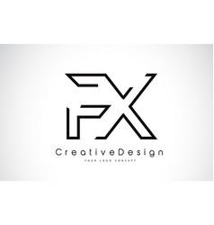 fx f x letter logo design in black colors vector image
