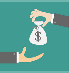 giving taking hands with money bag with dollar vector image