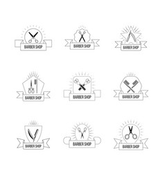 Hairdresser logo set with vintage scissors hair vector