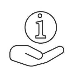 hand holding info sign linear icon vector image