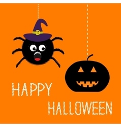 Hanging spider in witch hat and pumpkin Happy vector