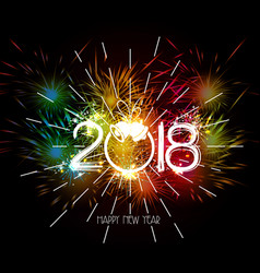 happy new year 2018 fireworks colorful vector image
