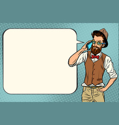 Hipster man with a smartphone vector