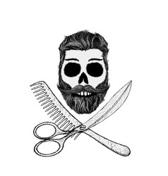 Hipster skull with hair style beard and mustache vector