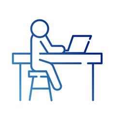 Human figure avatar working in laptop in desk vector