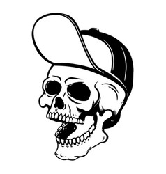 human skull in baseball cap design element for vector image