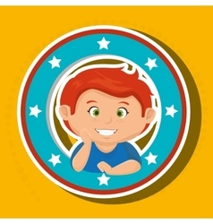 Icon cartoon child boy happy vector
