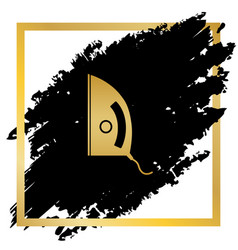 Iron sign golden icon at black spot vector