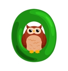 Letter O with animal owl for kids abc education in vector