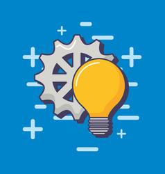 light bulb gear work solution innovation vector image