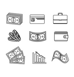 Line global coins and bills money with tools save vector