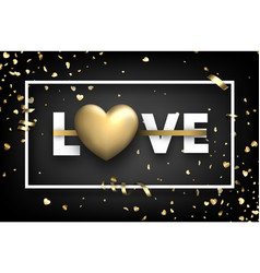 love card with gold hearts and serpentine vector image