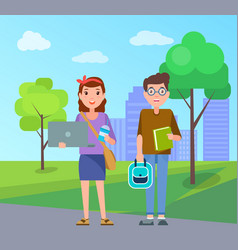 male and female students with handbags set vector image