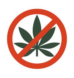 Marijuana leaf with forbidden sign - no drug no vector