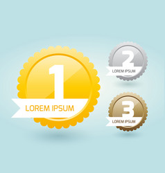 medals for the winners with a label or award vector image