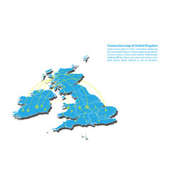 Modern of united kingdom map connections network vector