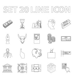 Money and finance outline icons in set collection vector