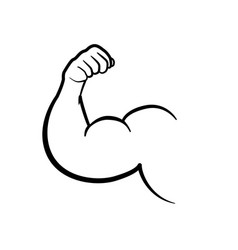 muscle black icon isolated on white background vector image