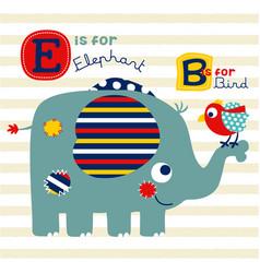 nice elephant and bird cartoon vector image