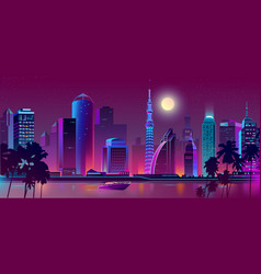 Night purple city river with boat vector