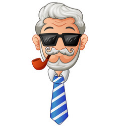 old man in necktie and glasses with the beard and vector image