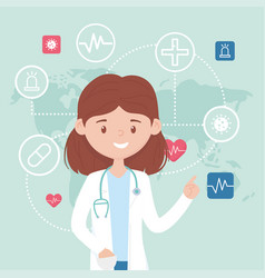 Online female doctor consultation drug examining vector