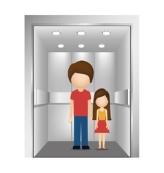 People in elevator design vector