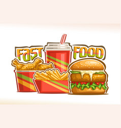 poster for fast food vector image