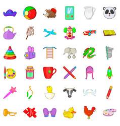 Preschool icons set cartoon style vector
