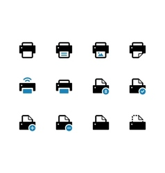 Printer duotone icons on white background vector image