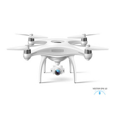 realistic quad copter air drone with camera vector image
