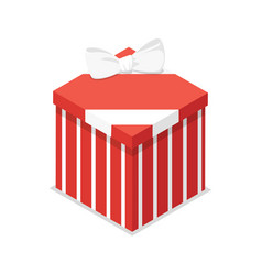 red closed gift box isometric 3d icon vector image