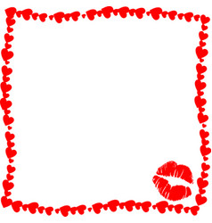 red vintage hearts frame with kiss mark vector image