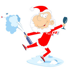 Santa claus bottle glass and champagne splashes vector
