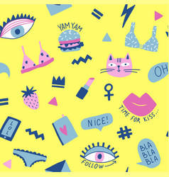 seamless pattern with hand phrases and symbols for vector image